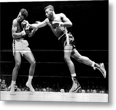 Floyd Patterson Throwing Hard Punch Metal Print