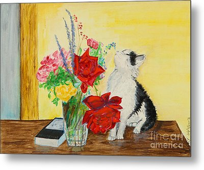 Fluff Smells The Lavender- Painting Metal Print by Veronica Rickard