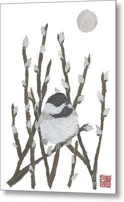 Chickadee Art Hand-torn Newspaper Collage Art By Keiko Suzuki Bless Hue Metal Print by Keiko Suzuki