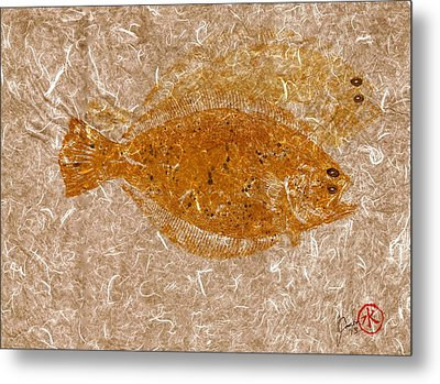 Fluke W Shadow On White Unryu/mulberry Paper Metal Print