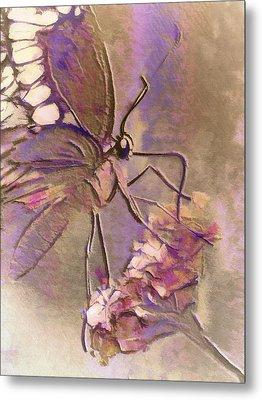 Fluorescent Butterfly Metal Print by Jill Balsam