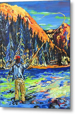 Fly Fisherman Metal Print