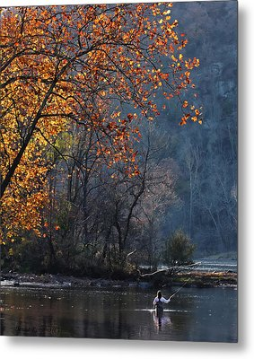 Fly Fisherwoman Metal Print by Denise Romano