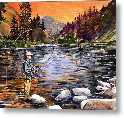Fly Fishing At Sunset Mountain Lake Metal Print by Beth Kantor