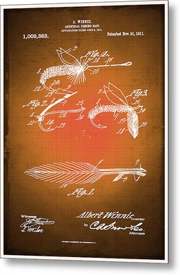 Fly Fishing Bait Patent Blueprint Drawing Sepia Metal Print