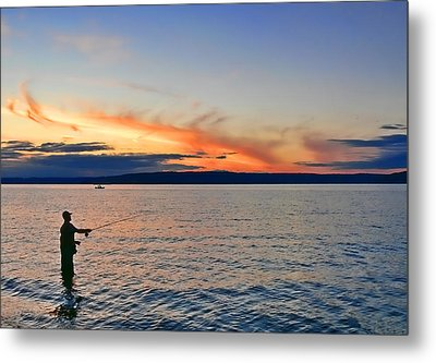 Fly Fishing  Fisherman On Puget Sound Washington Metal Print by Jennie Marie Schell