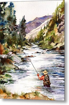 Fly Fishing In The Mountains Metal Print by Beth Kantor