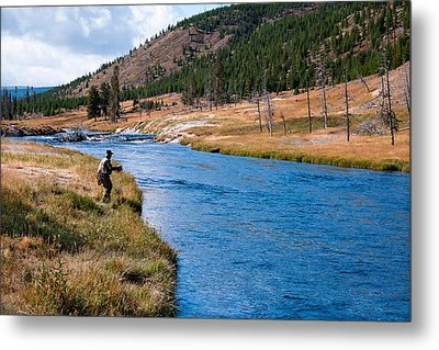 Fly Fishing In Yellowstone  Metal Print by Lars Lentz