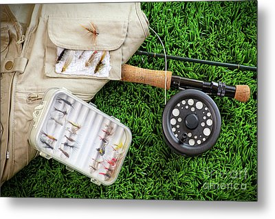 Fly Fishing Rod And Asessories Metal Print by Sandra Cunningham