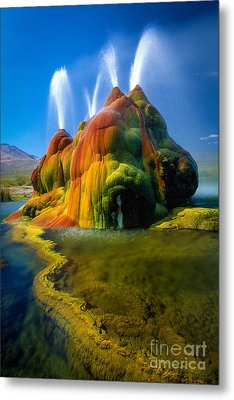 Fly Geyser Travertine Metal Print by Inge Johnsson