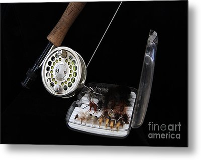 Fly Rod And Fly's Metal Print by Edward R Wisell
