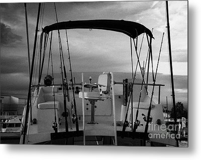 Flybridge On A Charter Fishing Boat In Early Morning Light Key West Florida Usa Metal Print by Joe Fox