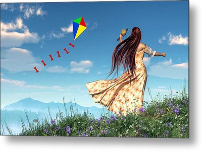 Flying A Kite Metal Print by Daniel Eskridge