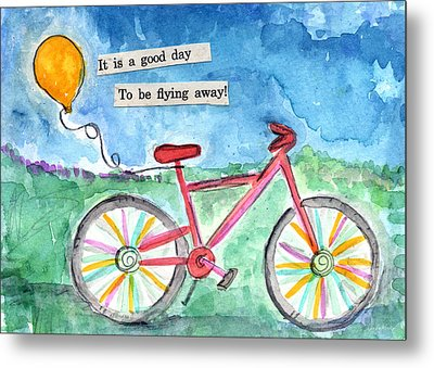 Flying Away- Bicycle And Balloon Painting Metal Print