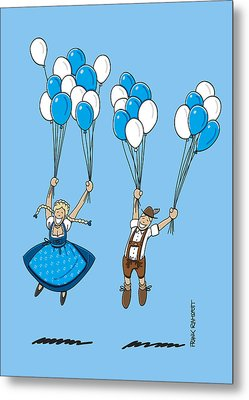 Flying Balloons Oktoberfest Couple Metal Print by Frank Ramspott