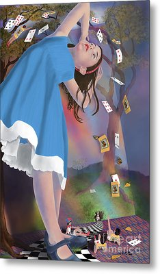 Flying Cards Dissolve Alice's Dream Metal Print by Audra D Lemke
