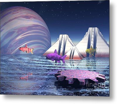 Metal Print featuring the digital art Flying Fish by Jacqueline Lloyd