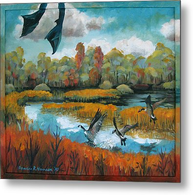 Flying Geese Feet Metal Print by Art Nomad Sandra  Hansen