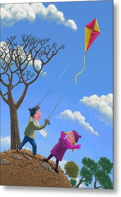 Flying Kite On Windy Day Metal Print by Martin Davey