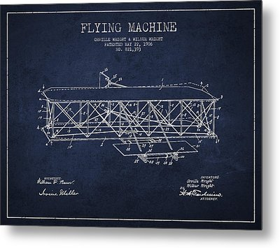 Flying Machine Patent Drawing From 1906 Metal Print by Aged Pixel