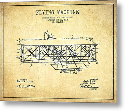 Flying Machine Patent Drawing From 1906 - Vintage Metal Print by Aged Pixel