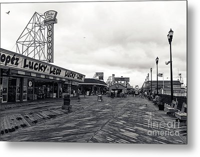Flying Over The Boardwalk Mono Metal Print