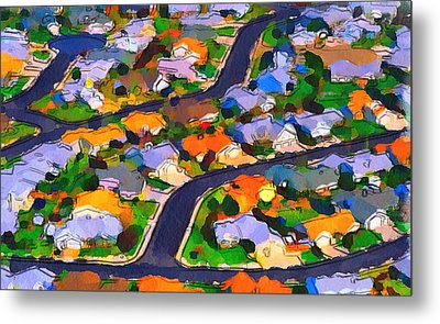 Flying Over Town Metal Print by Yury Malkov