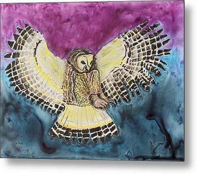 Metal Print featuring the painting Flying Owl by Jeanne Fischer