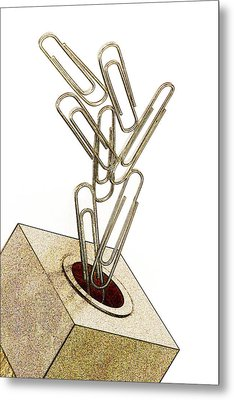 Flying Paperclips Metal Print by Carol Leigh