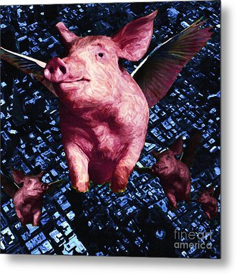 Flying Pigs Over San Francisco - Square Metal Print by Wingsdomain Art and Photography