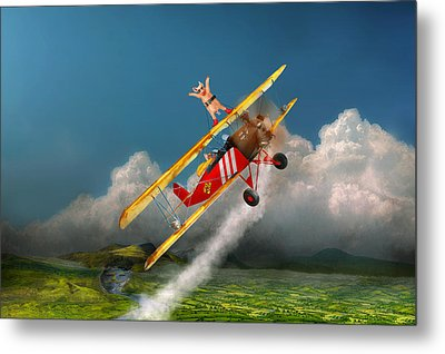 Flying Pigs - Plane - Hog Wild Metal Print by Mike Savad