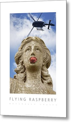 Flying Raspberry Naturally Fruity Poster Metal Print by David Davies