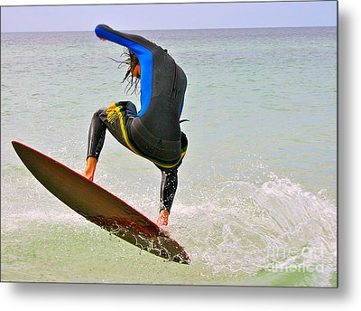 Flying The Wave Metal Print by Joan McArthur