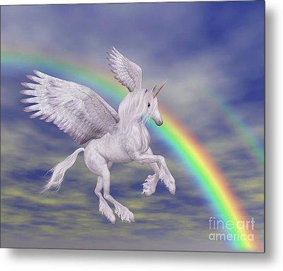 Flying Unicorn And Rainbow Metal Print by Smilin Eyes  Treasures