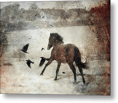 Flying With The Crows Metal Print by Dorota Kudyba