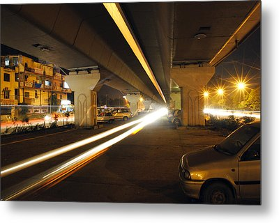 Flyover In The Night Metal Print by Sumit Mehndiratta