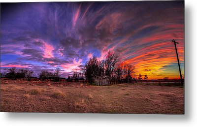 Fm Sunset Pano In Needville Texas Metal Print