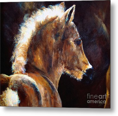 Foal Chestnut Filly Painting Metal Print by Ginette Callaway