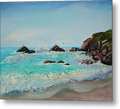 Metal Print featuring the painting Foamy Ocean Waves And Sandy Shore by Asha Carolyn Young