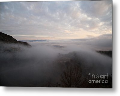 Metal Print featuring the photograph Fog At Sunrise In Jerome Arizona With San Francisco Peaks Of Flagstaff In The Distance by Ron Chilston