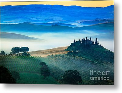 Fog In Tuscan Valley Metal Print by Inge Johnsson