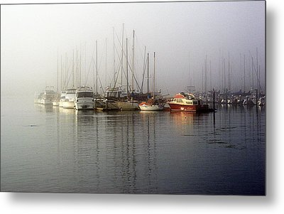 Fog Light In The Harbor Metal Print by AJ  Schibig