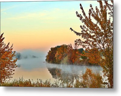 Metal Print featuring the photograph Fog On The River by Lynn Hopwood