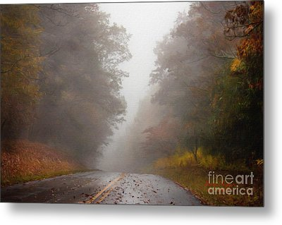 Fog On The Road Metal Print by Lena Auxier