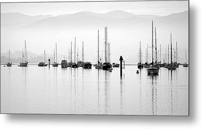 Fog Settles On Morro Bay Metal Print by AJ  Schibig