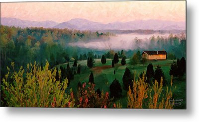 Foggy Blue Ridge Morning Metal Print by Spyder Webb