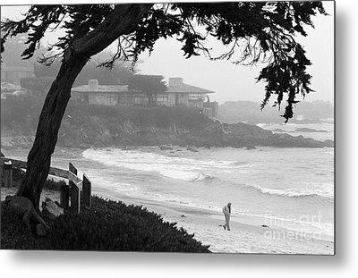 Foggy Day On Carmel Beach Metal Print by James B Toy