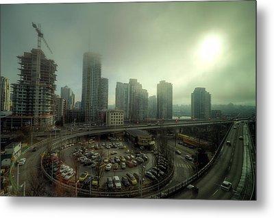 Foggy Downtown Vancouver Metal Print by Eti Reid