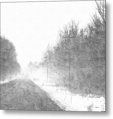 Foggy Eleven Mile Road Newaygo County Michigan Metal Print by Rosemarie E Seppala