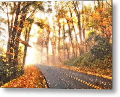 Foggy Fall Wonderland - Blue Ridge Parkway II Metal Print by Dan Carmichael